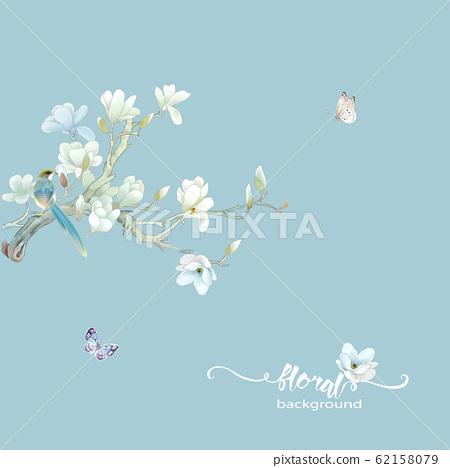 優雅的水彩花卉素材組合 62158079