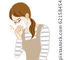 家庭主婦戴著口罩戴咳嗽 62158454