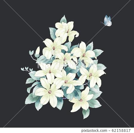 優雅的水彩花素材組合 62158817