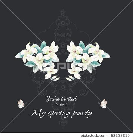 優雅的水彩花素材組合 62158819
