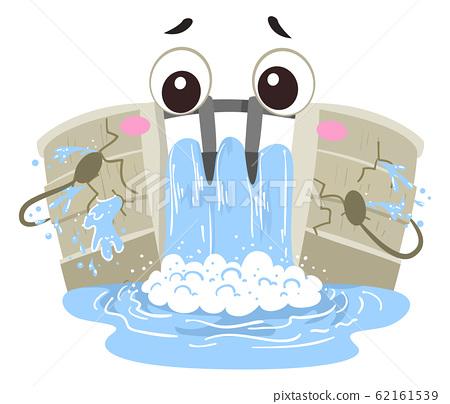 Mascot Dam Crack Illustration 62161539