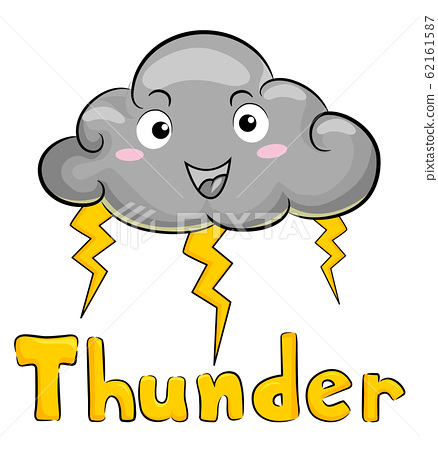Mascot Cloud Thunder Storm Illustration 62161587