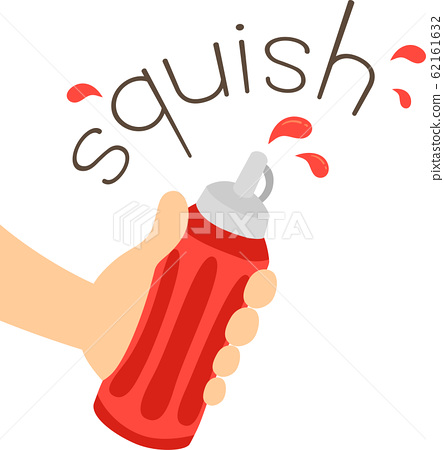 Hand Ketchup Bottle Onomatopoeia Sound Squish 62161632