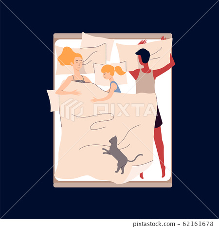Sleeping parents and child in bed, flat vector illustration isolated on white. 62161678
