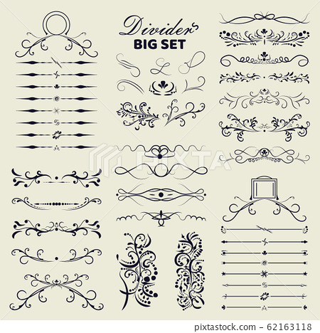 Big set of decorative flourishes hand drawn dividers. Victorian Collection ornate page decor elements banners, frames, dividers, ornaments and patterns. Vector design elements 62163118