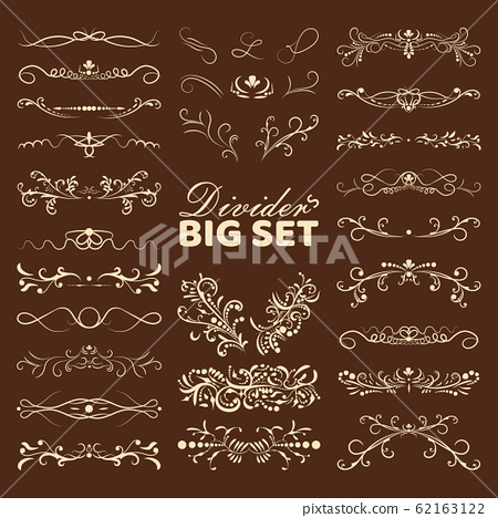Big set of decorative flourishes hand drawn dividers. Victorian Collection ornate page decor elements banners, frames, dividers, ornaments and patterns. Vector design elements 62163122