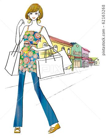 一个在购物中心购物的女人 62163268