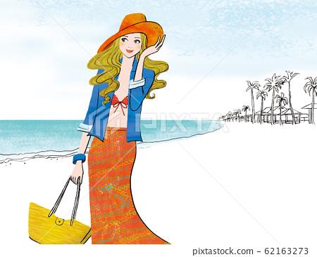 女人在海風中吹 62163273
