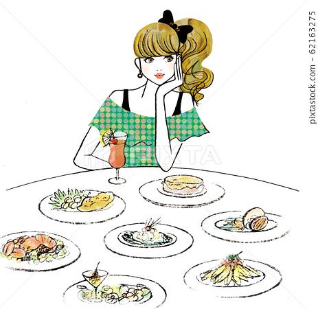 有很多食物和飲料的女人 62163275