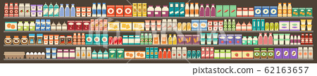 Supermarket, shelves with products and drinks. 62163657