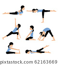 Young woman practices yoga. Set asanas. 62163669
