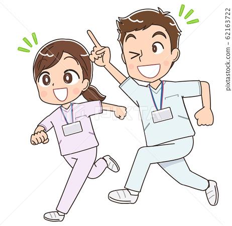 可愛的護士護士白大褂男人和女人插圖漫畫動漫 62163722