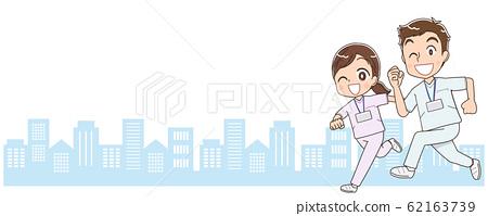 귀여운 간호사 간호사 백의 남녀 일러스트 만화 애니메이션 62163739