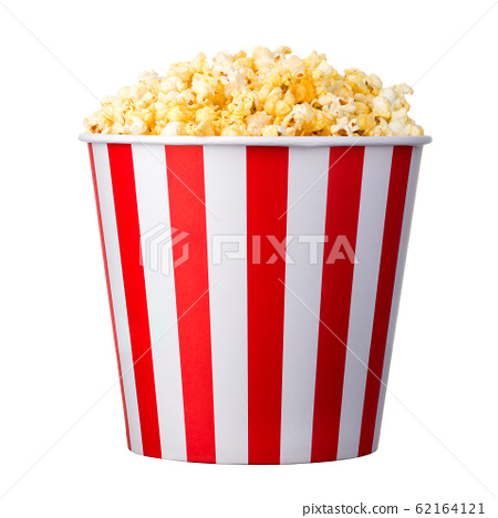 Paper striped bucket with popcorn isolated on white background 62164121