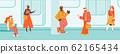 People waiting commuter train on subway platform sketch vector illustration. 62165434