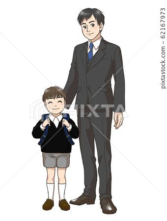 新小學男孩和父親 62167973