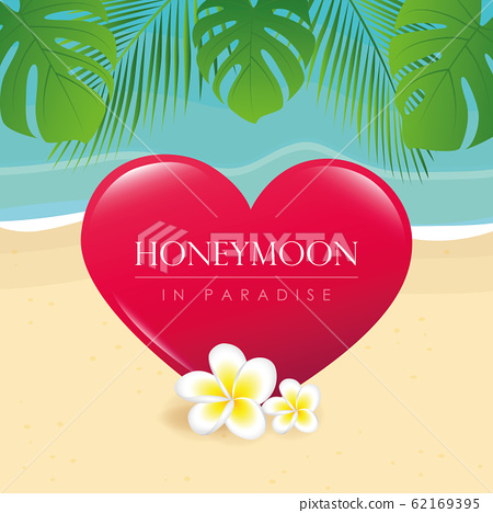 honeymoon in paradise design on the beach with palm leaf 62169395
