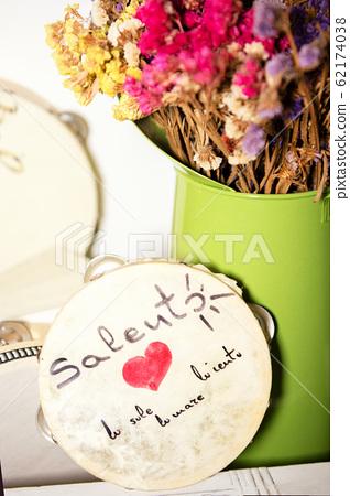 Manduria, ITALY - January 5, 2020 Tambourine for pizzica, national musical instrument, Salento Apulia Italy 62174038