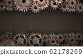 Old vintage frame from rusty gears. Photo Frame. 3D illustration. 62178269