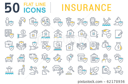 Set Vector Line Icons of Insurance 62178936