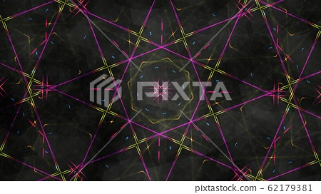 Geometric Kaleidoscope with Rainbow Light Rays and Dark Backdrop - Abstract Background Texture 62179381