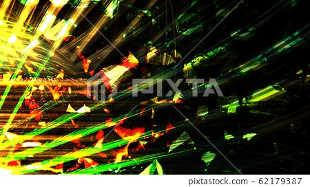 Yellow and Green Light Beams from Star Penetrate Through Deep Dark Space - Abstract Background Texture 62179387