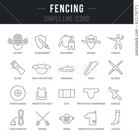 Set Vector Line Icons of Fencing. 62179771