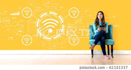 Wifi theme with young woman 62181337