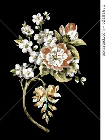 深底上色彩豐富的花卉素材 62181651