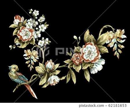 深底上色彩豐富的花卉素材 62181653