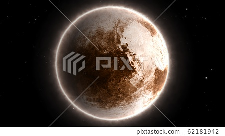 Beautiful View of Planet Pluto from Space Timelapse and Stars - Abstract Background Texture 62181942