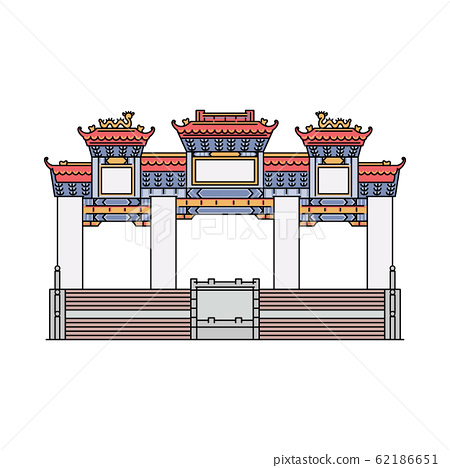 Famous Hong Kong temple - flat icon of ancient shrine and tourist attraction
