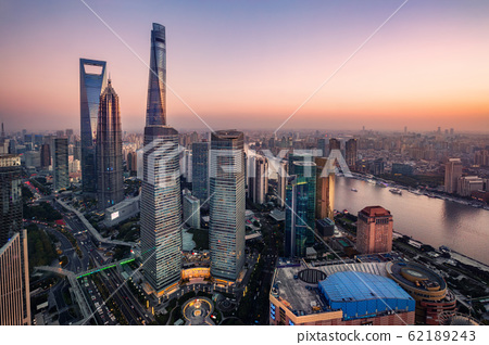 illuminated Lujiazui skyline and Ring road circular footbridge, Shanghai, China 62189243