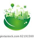 考慮生態,生態,自然和環境保護的城市生活形象圓形橫幅插圖(漸變) 62191560