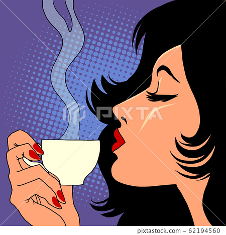 woman drinking hot coffee 62194560