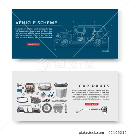 Car spares and auto parts with vehicle scheme vector illustration banners set. Auto diagnostics test service, protection insurance shop. Repair help. Smart technology for auto cars. 62196212