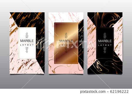 Gold, black, white marble template, covers design layout, colorful texture, realistic , backgrounds. Trendy pattern, graphic poster, geometric brochure, cards. Vector  62196222