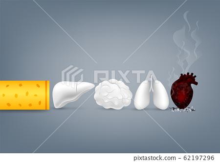 Stop smoking, World no tobacco day. Smoking is harmful to human organs.  62197296