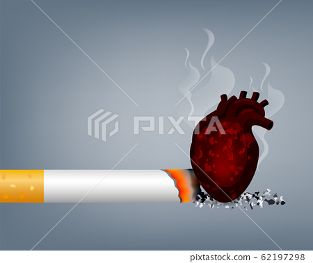 Stop smoking, World no tobacco day. Smoking is harmful to human heart.  62197298