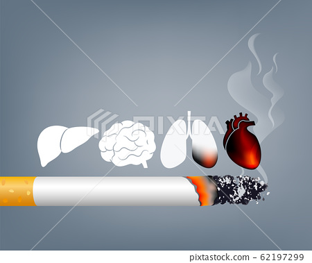 Stop smoking, World no tobacco day. Smoking is harmful to human organs. 62197299