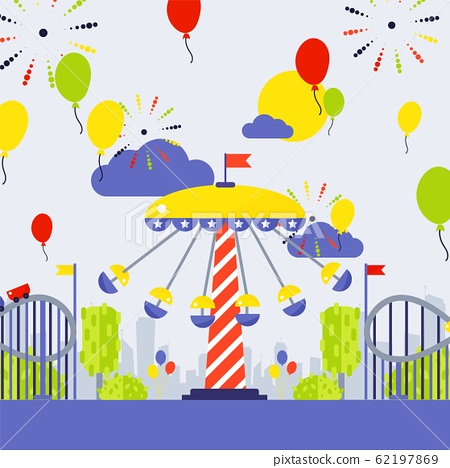 Amusement park vector illustration. Summer fairground carousel and roller coaster in city park. Funfair invitation, advertisement campaign. Fairground entrance 62197869