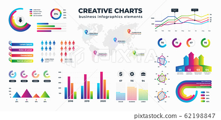Graphs and charts. Business statistics for data and finance analysis, collection of information visualization. Vector schemes diagrams and bar charts set 62198847