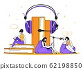 Podcast concept. Interview radio and online broadcasting, online education and training. Vector flat scene with microphone and headset 62198850