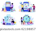 Flat lottery. Cartoon bingo game scenes with happy characters, lotto spinner, fortune wheel and gambling machine. Vector set 62198857