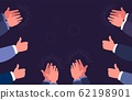 Thumbs up and clap hands. Hand clapping gestures. Business success, concept. Vector applaud illustration 62198901