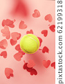 tennis love layout tennis ball flying hearts confetti. Valentine's day concept with tennis play. 62199318