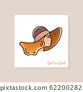 Woman in brown hat. High quality color vector illustration of a woman in profile with laterings. 62200282