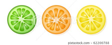 Set of lemon, orange, lime slices on white background. Citrus fruit slices. Vector illustration. 62200788