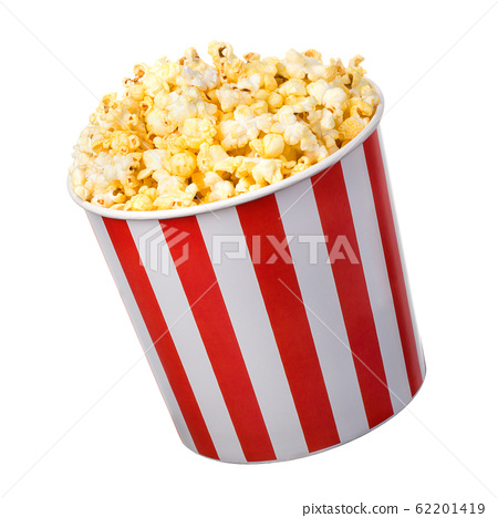 Paper striped bucket with popcorn isolated on white background 62201419
