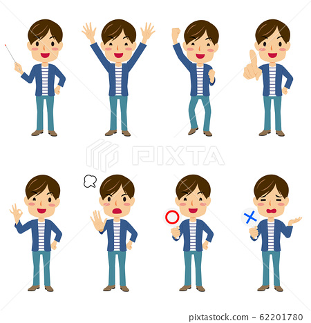 Young men in various poses 8 patterns set 62201780